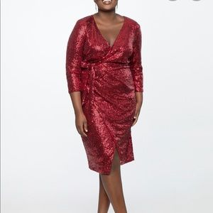 New Eloquii red sequin wrap dress size 16